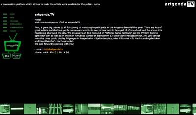 Mitarbeit und Hilfe für die Artgenda 2002 in Hamburg einer Plattform für Künstler der Ostsee Anreinerstaaten mit der Erstellung einer Website