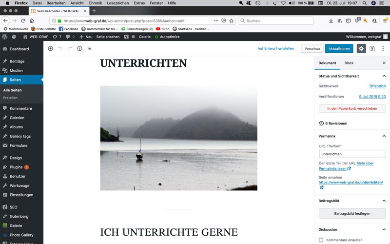 Unterrichten mit WEB-GRAF in WordPress